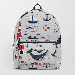 Ocean Blue Whale Grey Backpack
