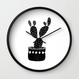 Cactus linocut potted plant houseplants black and white lino print illustration Wall Clock