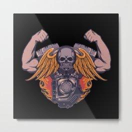 Motorcycle skull wings strong  muscle arms biker Metal Print