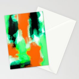 orange green and black painting abstract background Stationery Cards