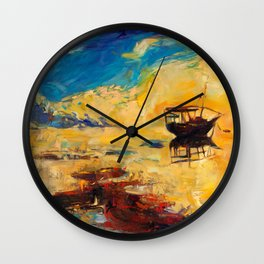 Boat in sea Wall Clock