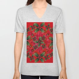 RED HOLIDAYS FLOWER & HOLLY  WREATH ART Unisex V-Neck