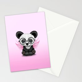 Cute Panda Cub with Fairy Wings and Glasses Pink Stationery Cards