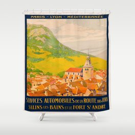 Vintage poster - Route du Jura, France Shower Curtain