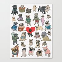 pugs Canvas Prints featuring Pugs by Yuliya