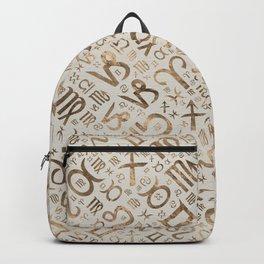 Zodiac symbol glyphs pastel gold Backpack