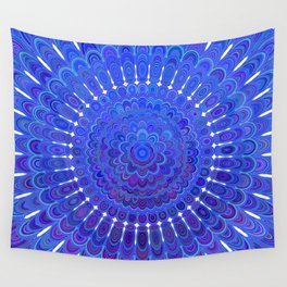 Blue Floral Mandala Wall Tapestry