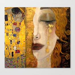 Gustav Klimt portrait The Kiss & The Golden Tears (Freya's Tears) No. 2 Canvas Print