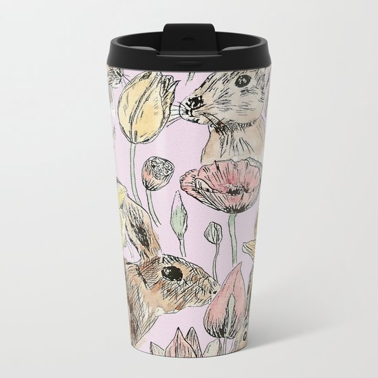 rabbits and flowers with color Metal Travel Mug