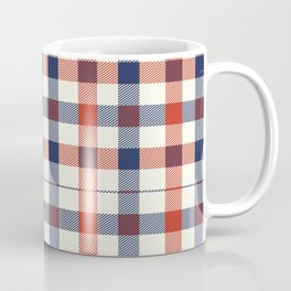 Plaid Red White And Blue Lumberjack Flannel Design Coffee Mug