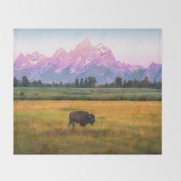 Grand Tetons Bison Throw Blanket