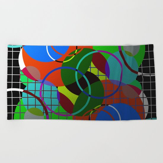 Caged Geometry - Abstract, metallic, geometric, rainbow coloured circles Beach Towel