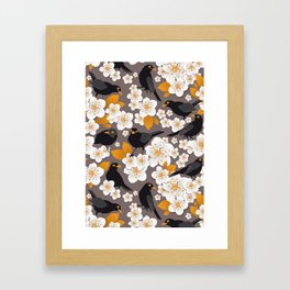 Waiting for the cherries II // Blackbirds brown background Framed Art Print