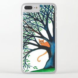 Corozal Stray Cats in Tree Clear iPhone Case