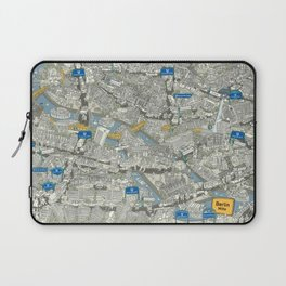 Illustrated map of Berlin-Mitte. Green Laptop Sleeve