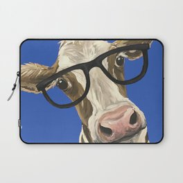 Cute Cow With Glasses, Blue Glasses Cow Laptop Sleeve