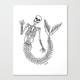 Waving Mermaid Skeleton Canvas Print