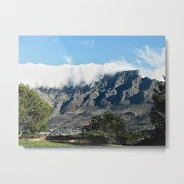Cloudy Table Mountain Cape Town, South Africa Metal Print
