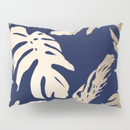 Simply Palm Leaves in White Gold Sands on Nautical Navy Pillow Sham