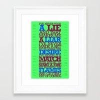 lyrics Framed Art Prints featuring Lyrics by lynneataylor