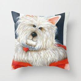 Dog Westie Terrier Original painting Deb Harvey Art Rose Throw Pillow