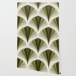 Olive Green and Ivory Retro Peacock Design Pattern Wallpaper