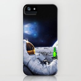Astronaut on the Moon with beer iPhone Case