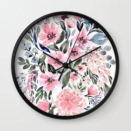 """Loose watercolor floral bouquet, """"Clara"""" Wall Clock"""