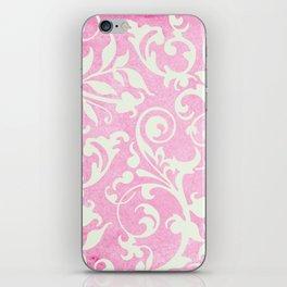 Shabby Chic pink damask iPhone Skin