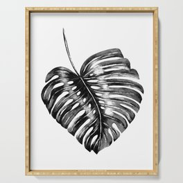 Monstera leaf black watercolor illustration Serving Tray