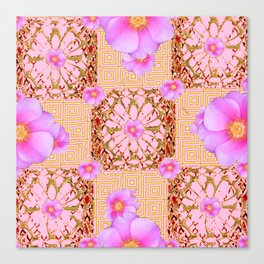 Delicate French Style Fuchsia Pink Wild Rose Gold Jewelry Abstract Canvas Print