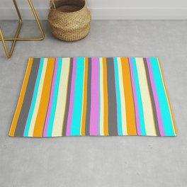 Eye-catching Orange, Dim Grey, Violet, Cyan & Light Yellow Colored Pattern of Stripes Rug