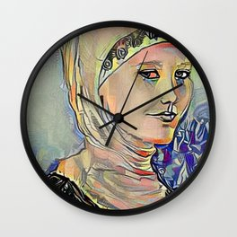 Hooded Girl Watercolor Digitized Wall Clock
