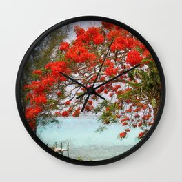 Wasting Away in Margaritaville - Key West, Straits of Florida landscape painting with Royal Poinciana blossoms Wall Clock