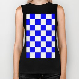 Large Checkered - White and Blue Biker Tank
