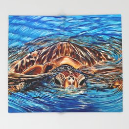 """Honu"" Throw Blanket"