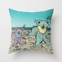 grateful dead Throw Pillows featuring Grateful Dead Beach Cruise by Charlotte hills
