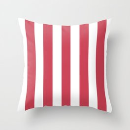 Brick red fuchsia - solid color - white vertical lines pattern Throw Pillow