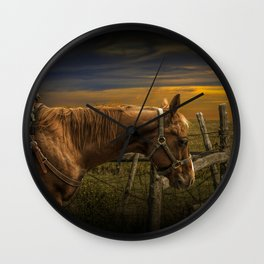 Saddle Horse on the Prairie Wall Clock