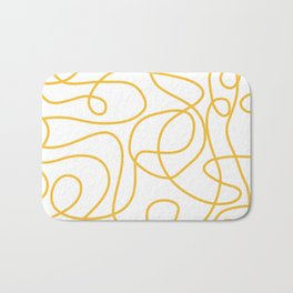 Doodle Line Art | Mustard Yellow Lines on White Bath Mat
