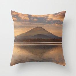 Mount Fuji and Lake Shoji in Japan at sunrise Throw Pillow