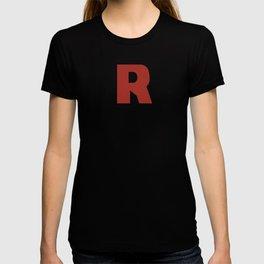 Letter R on Black T-shirt
