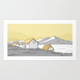 Houses in the cold Art Print