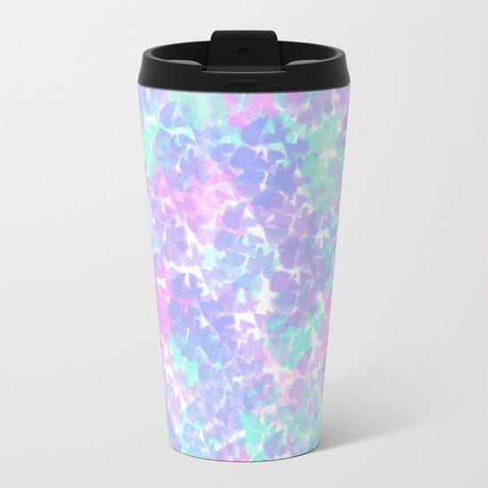 Soft Painterly Fluffy Pastel Abstract Metal Travel Mug