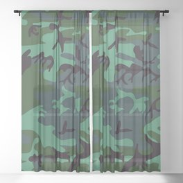 camouflage green Sheer Curtain