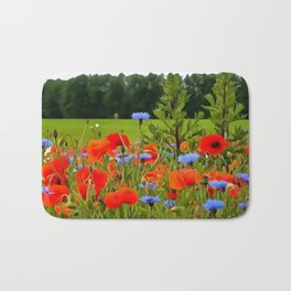 Poppies And Cornflowers Bath Mat