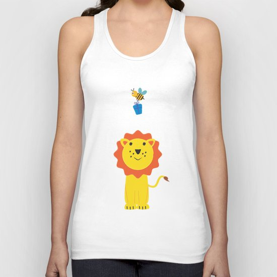 Lion and bee Unisex Tank Top