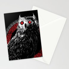 Midnight Owl - Red Stationery Cards