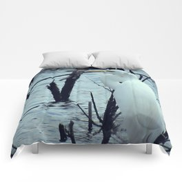 Great Egret White Bird Blue Water A107 Comforters