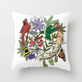 Pollinator's Garden Throw Pillow